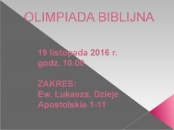 19.11.2016 r. (sobota) Olimpiada biblijna